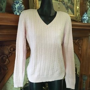 Izod Sweaters - Cable Knit V-Neck Pullover Sweater Pretty Pink
